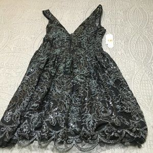 NWT GB Sexy Black Dress w/Sequins and Tulle sz11